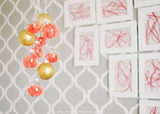 DIY mobile using clear Christmas ornaments - adorable!