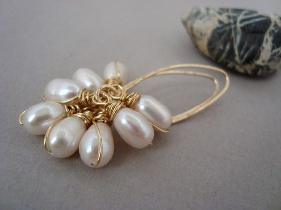 NICOLE  Pearl Earrings Gold Clusters Long Wire by YLOjewelry