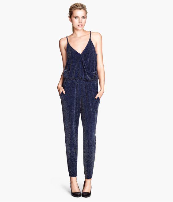 h&m navy sparkly jumpsuit. | FASHIONISTA | Pinterest | Sparkly ...
