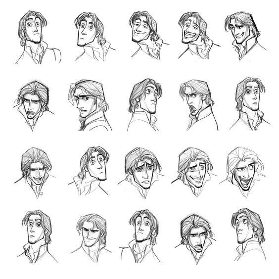 "Character Design Expression : ""flynn rider expressions sheet by jin kim ★ art of"