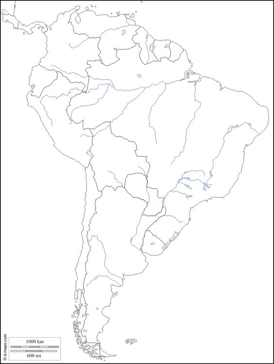 Hydrographic Blank Map Of South America