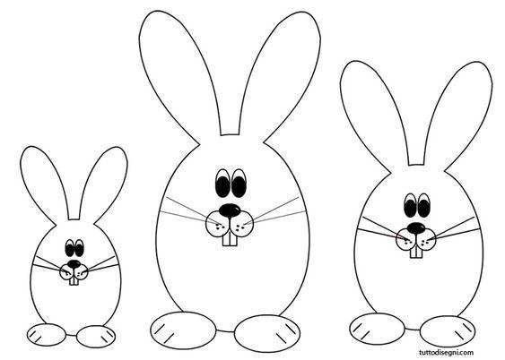 Pasqua - Conigli da colorare - TuttoDisegni.com
