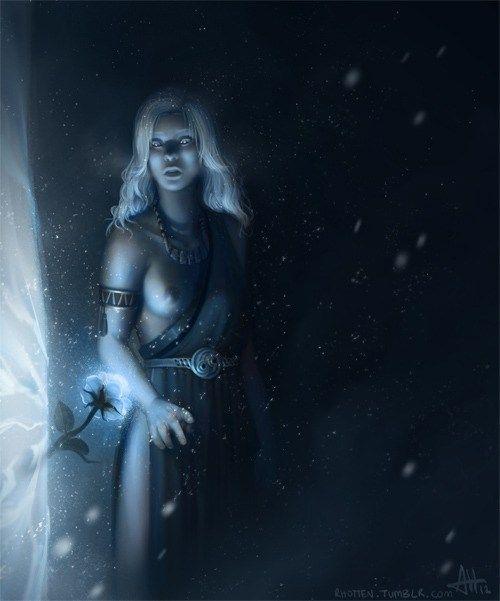 Visión de Daenerys en la Casa de los Eternos con la flor azul en el muro de hielo, por Rhotten