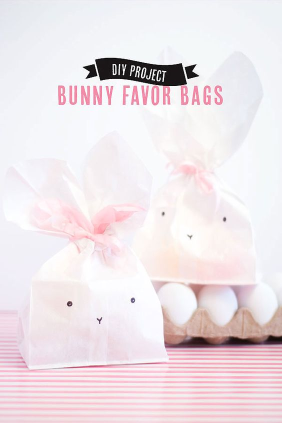 Bunny Party Favor Bags - perfect, adorable, and made out of a white paper lunch bag!