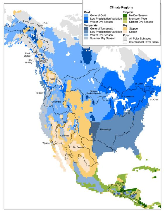North America Climate Regions Map US and Canada – Map of North Canada