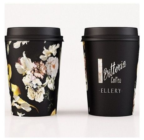 Floral illustrations on a take-away cup - the floral theme picking up popularity in 2014