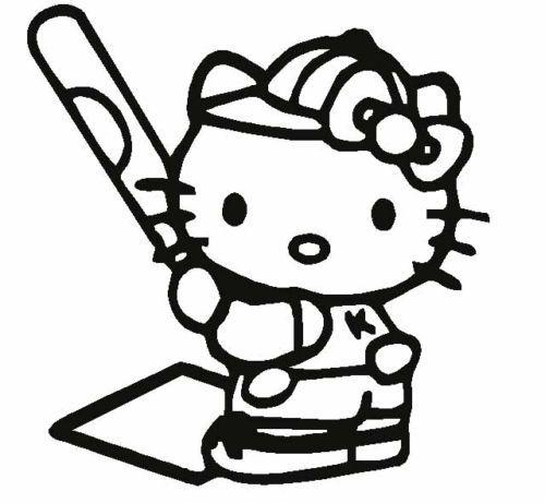 details about hello kitty softball baseball car decal