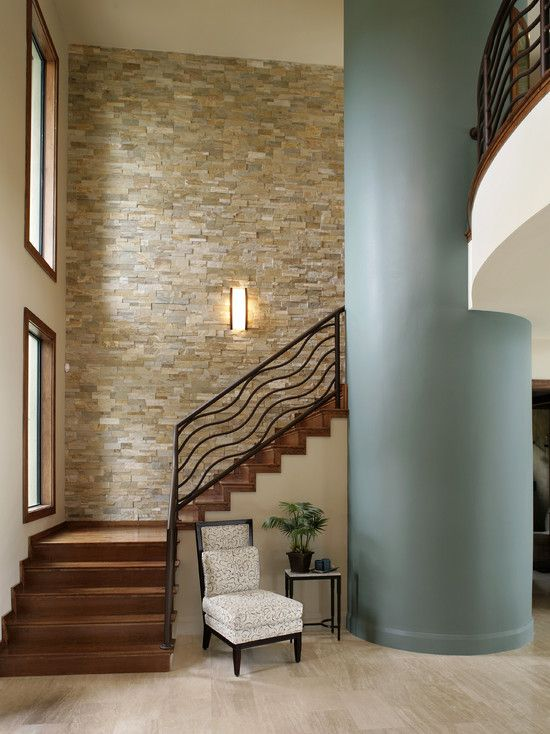 Pin By Bobbi Ouimette On For The Home Indoor Stone Wall Modern Staircase Stone Walls Interior