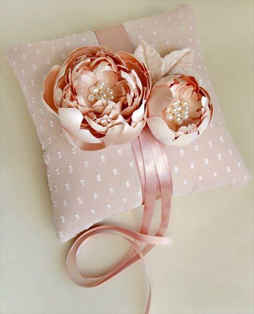 blush pink wedding ring pillow