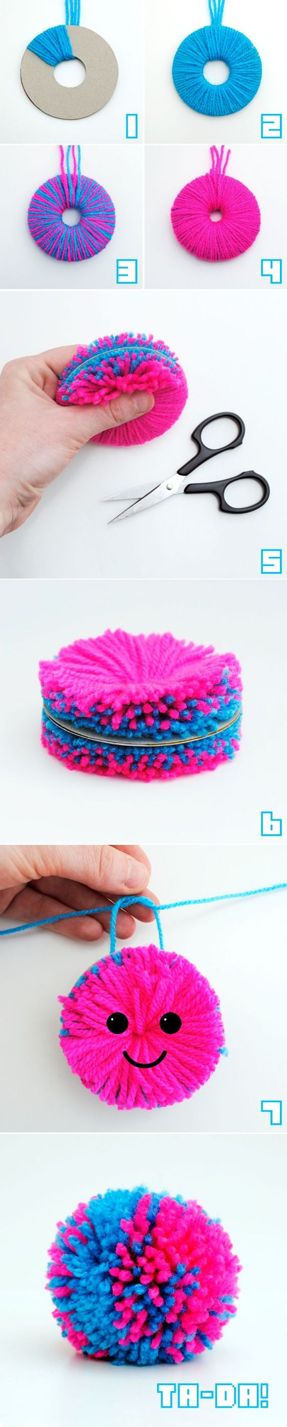 Pompoms - fab step by step photo instructions