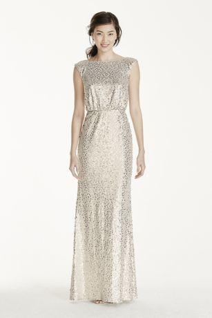 Long Sequin Blouson Dress Style F19022 - Cleanses- Sheath dresses ...
