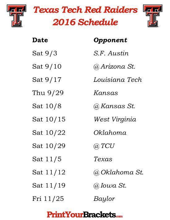 Printable Texas Tech Red Raiders Football Schedule 2016