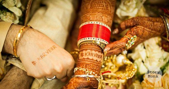 Karishma and Jyotveer | Anandkaraj | Sikh wedding in Delhi |The bride and the groom flaunting their hashtag through mehendi. | Story Monk | Every Indian bride's Fav.| Function Mania