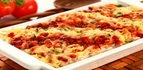 Saboroso Gostinho: Arroz de forno com presunto e queijo