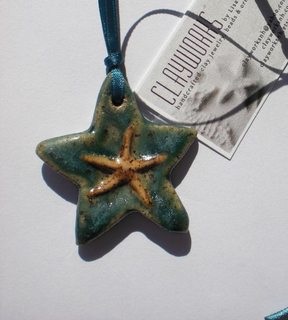 Stoneware Emerald and Opal Sea Star Ornament by Clayworksnh