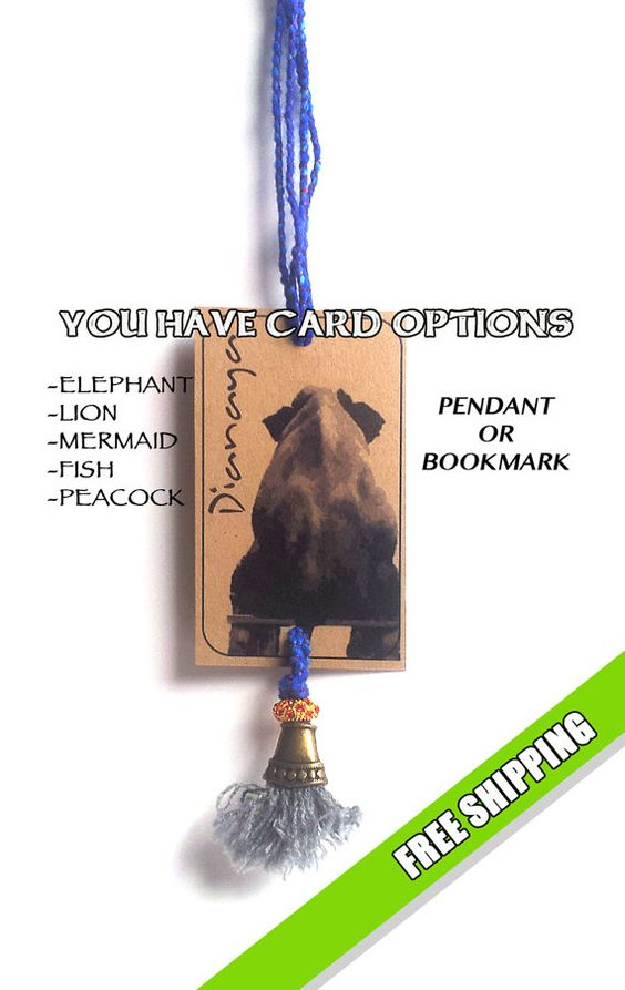 Fairy Tails! Well, ANIMAL TAILS. Pendant Necklace also Bookmark with card of your choice. Cruelty-free. Boho chic colorful. Perfect gift