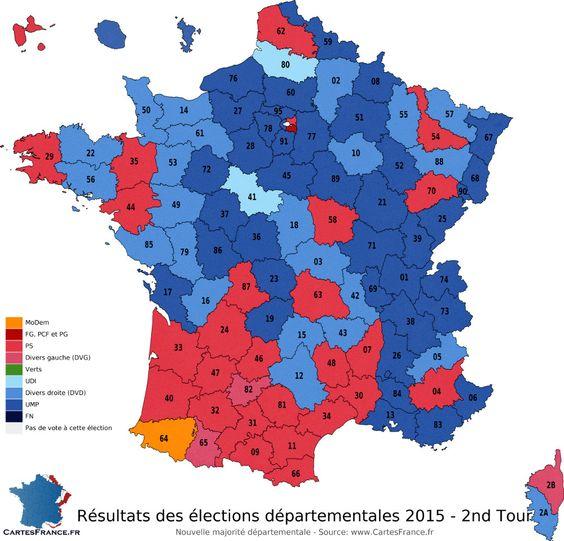 Carte des résultats du second tour des élections départementales 2015