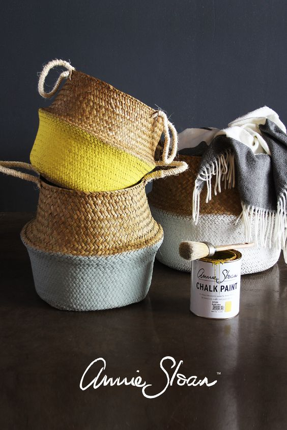 Refresh and brighten up your baskets with a coat of Annie Sloan Chalk paint. Colours used: English Yellow, Duck Egg Blue and Pure White