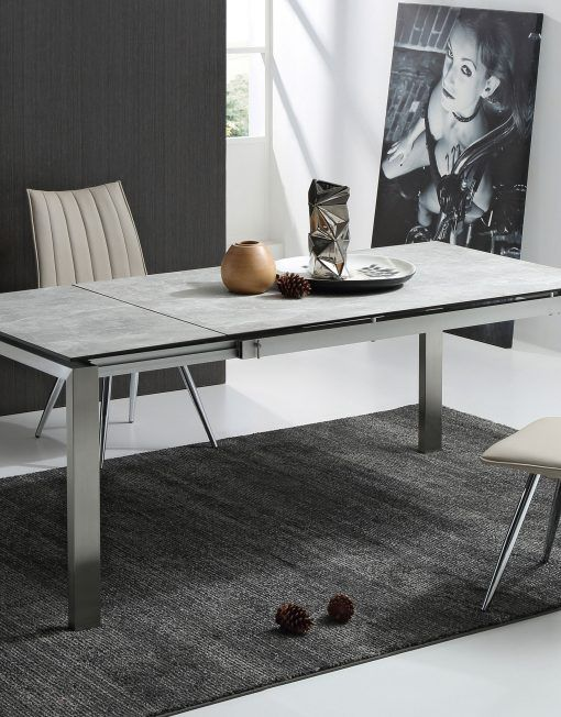 The Slate Grey Ceramic Glass Top Table Ceramic Dining Table