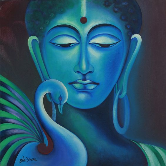 buddha and swan signed fine art painting in prayer