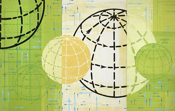Amanda Knowles. Directional Spin IV, 2004.  Mixed media, etching and sewoing