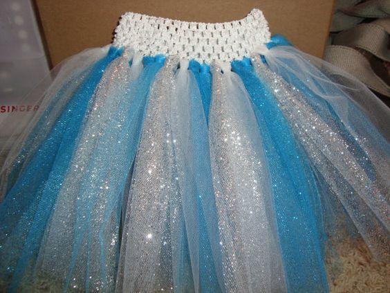 Elsa inspired tutu skirt, glittery tulle skirt, Frozen inspired tutu on white or blue crochet band. on Etsy, $14.00: