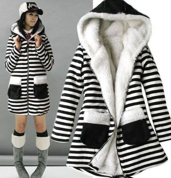 Stripes of Black and White Coat for Teen Girls with Hood Zebra
