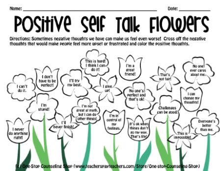 Self Talk Flowers Worksheet likewise Stages Of Grief Worksheet ...