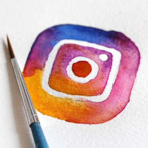 instagram creative art, new logo recreated with flowers - nieuwe instagram logo #instagram #logo #art #watercolor #colorful #illustration