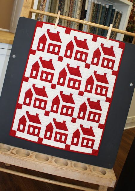 "A Collection of Small Red and White Quilts. Love  house pattern.  This exact quilt will go on my ""would love to quilt"" list!"