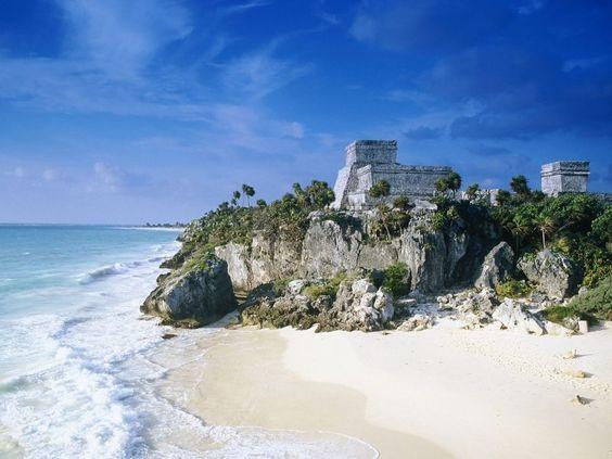Mayan ruins on a Mexico beach