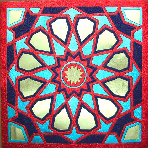 Marqueteria en cuero a seis colores dibujos inspirados en los mosaicos de la alhambra - Mosaicos de colores ...