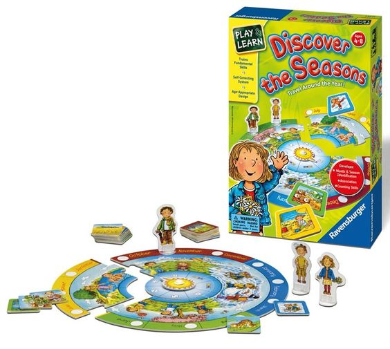 "Discover the Seasons Ages 4-8   	Recommended Age: 4 to 8 	Players: 1-4 	Skills: Fundamental skills, memory 	Includes: 4 Puzzle Pieces ""Circle of the Year"", 1 Sun Spinner, 4 Playing Figures, 40 Picture Tiles, Instructions"