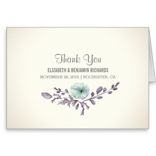 cute watercolor painted blossom thank you cards