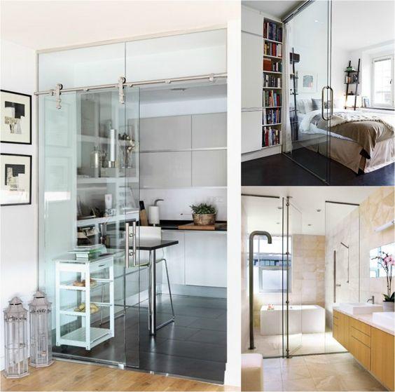 Puertas de cristal puerta corredera cocina pinterest - Cristal puerta salon ...