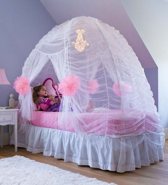 Fairy-Tale Bed Tent...need I say more!  A little gaudy, honestly, but I doubt that is what any little girl would be saying!