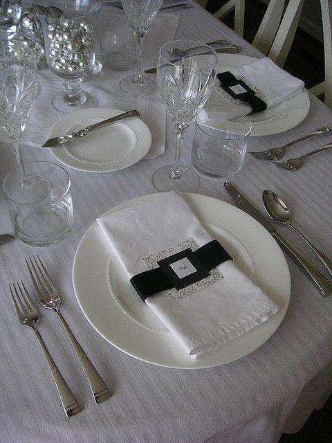 Black, white, silver table setting