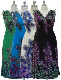 FREE SHIPPING~Plus Size Vibrant Peacock Maxi Dress in 4 Colors ...
