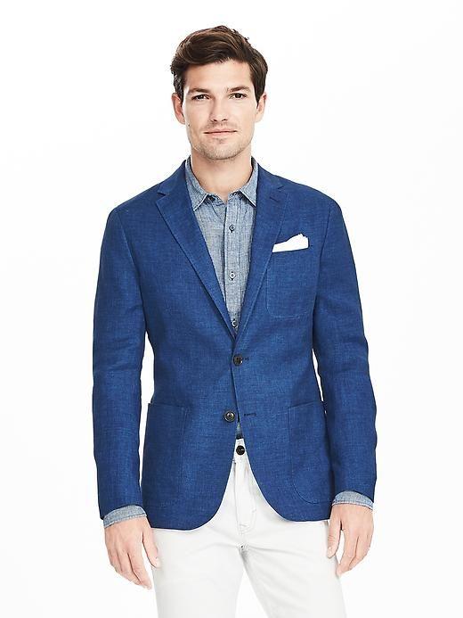 Modern Slim Blue Italian Linen Blazer Product Image | Sport Coats