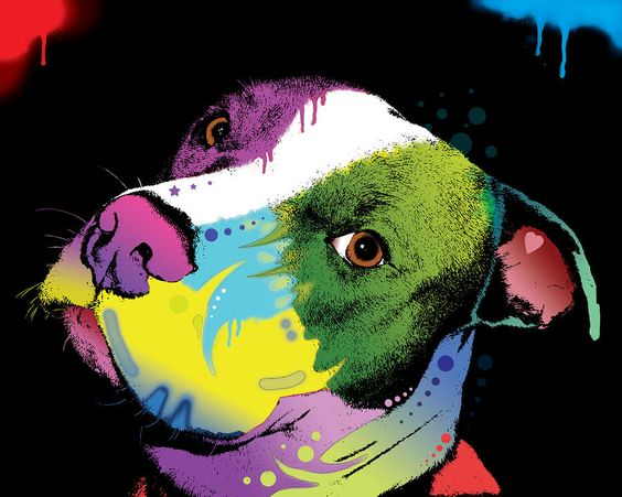 Peter Max-like Pit Bull poster - so cool! #pitbull #poster