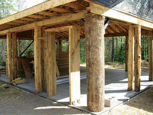 Cordwood home frame mostly post and beam    Cordwood Construction    Cordwood home frame mostly post and beam