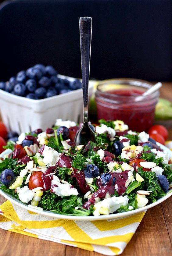 Best of Summer Kale Salad with Blueberry-Balsamic Vinaigrette - Iowa Girl Eats