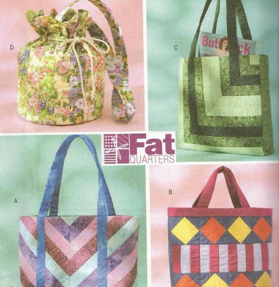 Fat Quarter Bags Tote Bag Pattern Uncut Butterick 4248