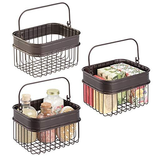 Bathroom Wire Storage Basket Pack Of