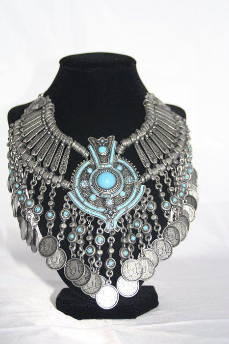 Collier im orientalischen-Stil, Tribalschmuck - Bauchtanz-Schmuck Halsschmuck