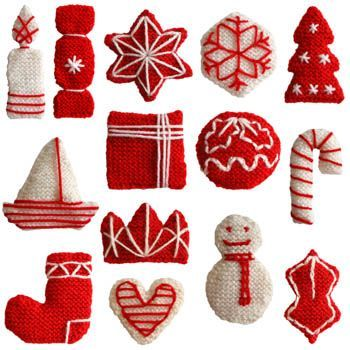 Knitted Christmas decorations, originally from http://www.oddknit.com/patterns/decorations/twotoneset.html