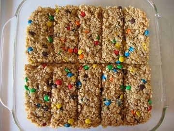 Homemade Granola Bars- Omit coconut, rice crispies, and M&M's. Add almonds, Craisins, and chocolate chips. Replace butter with coconut oil. My go-to granola bar recipe!!!