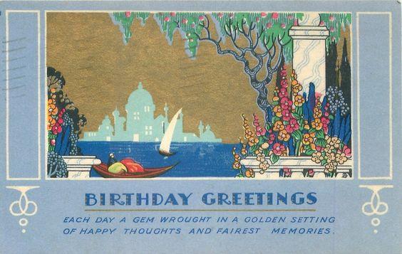 SALUDOS DEL CUMPLEAÑOS cielo dorado sobre góndola y silboat, columnas y flores estilizadas derecha, la silueta del templo en el horizonte