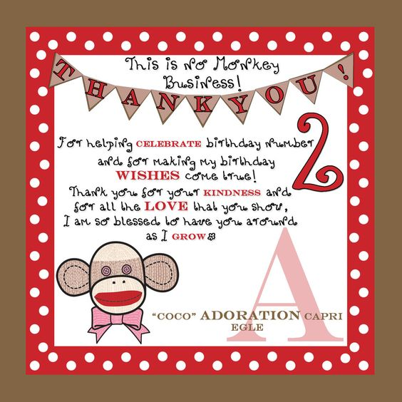 Sock Monkey Thank You Designs