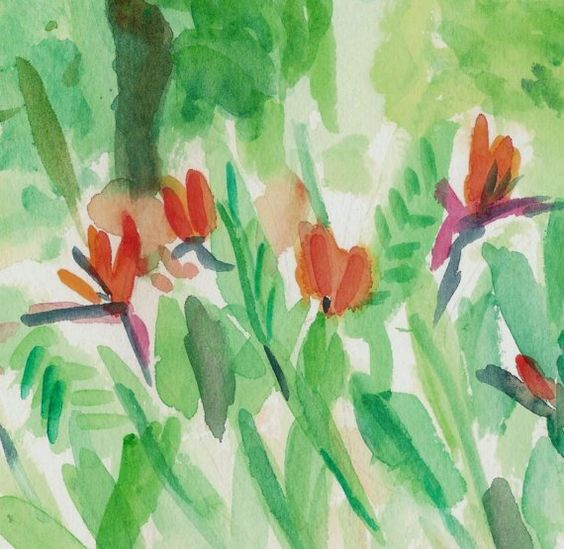 Bird of Paradise in Bloom, original water color painting, landscape, garden, fresh green, tangerine on Wanelo